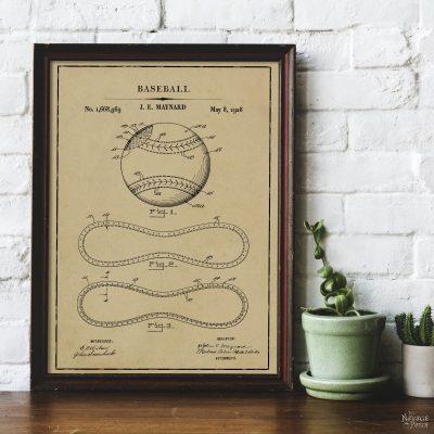 Free Printable Baseball Patent Art - Baseball