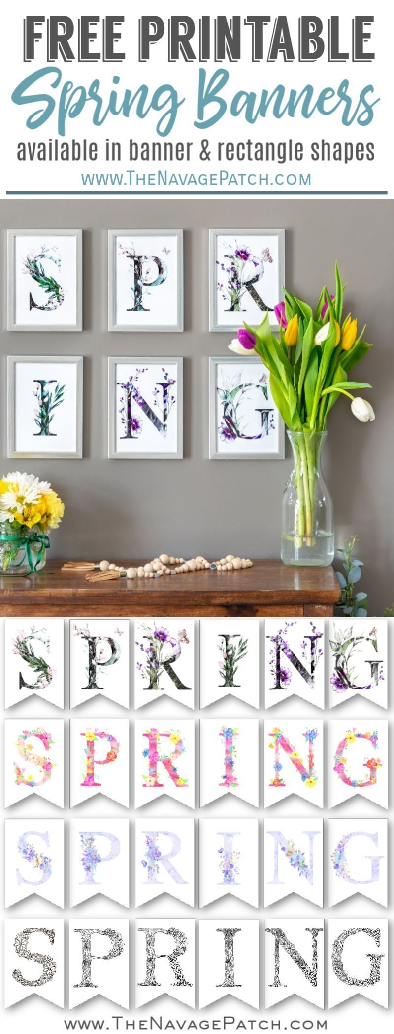 Free Printable Spring Banner pin image