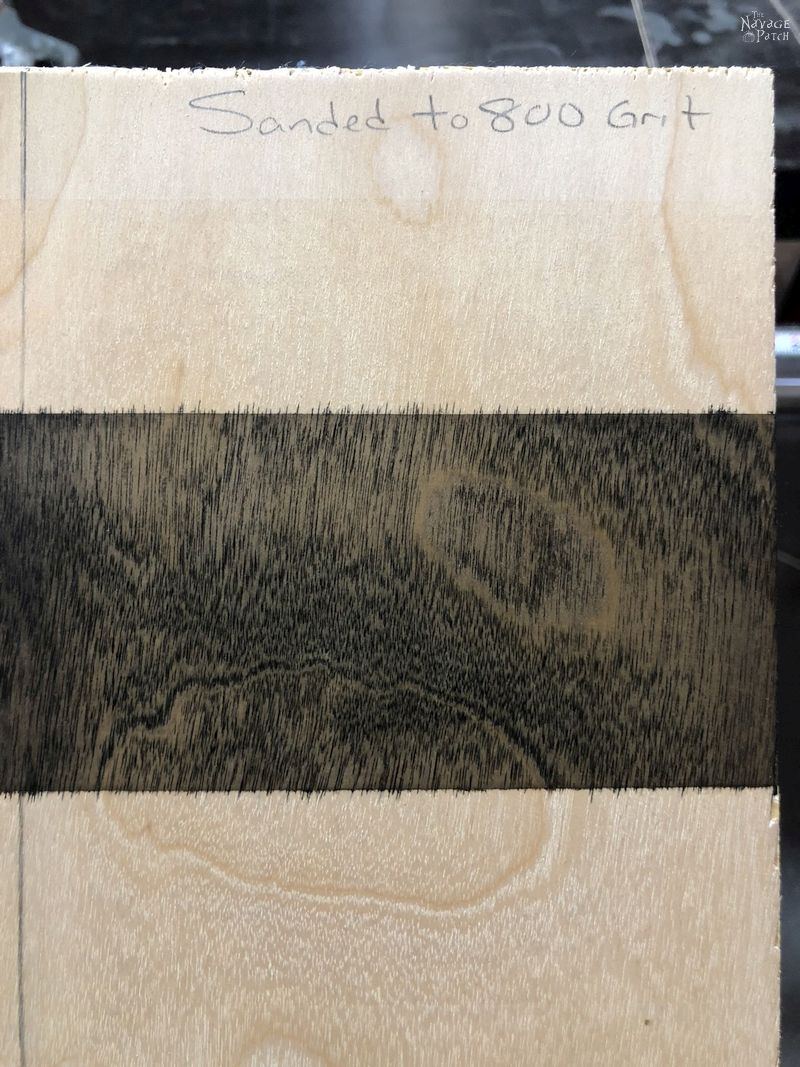 black stain line on plywood