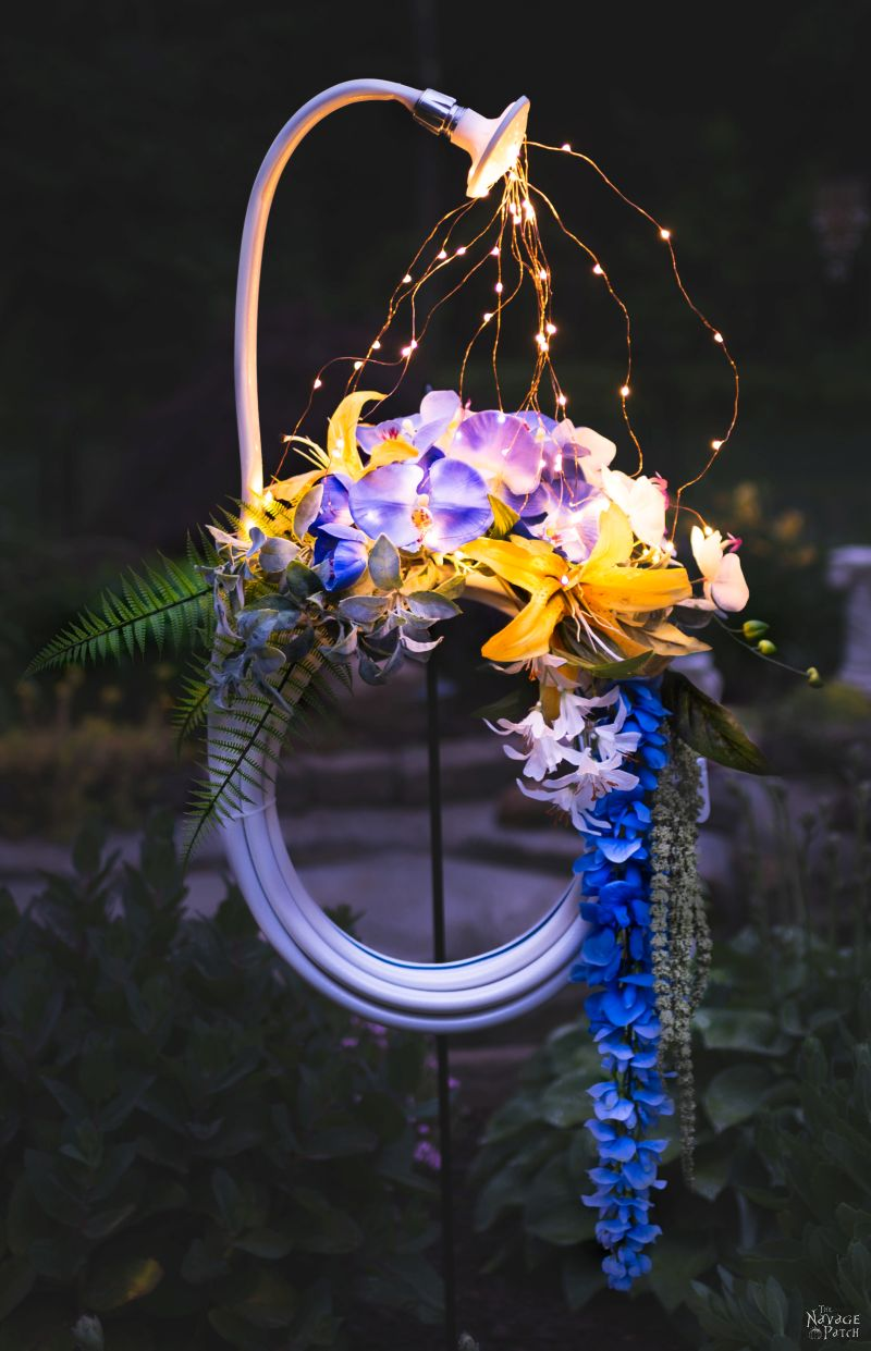 DIY Lighted Garden Hose Wreath by The Navage Patch