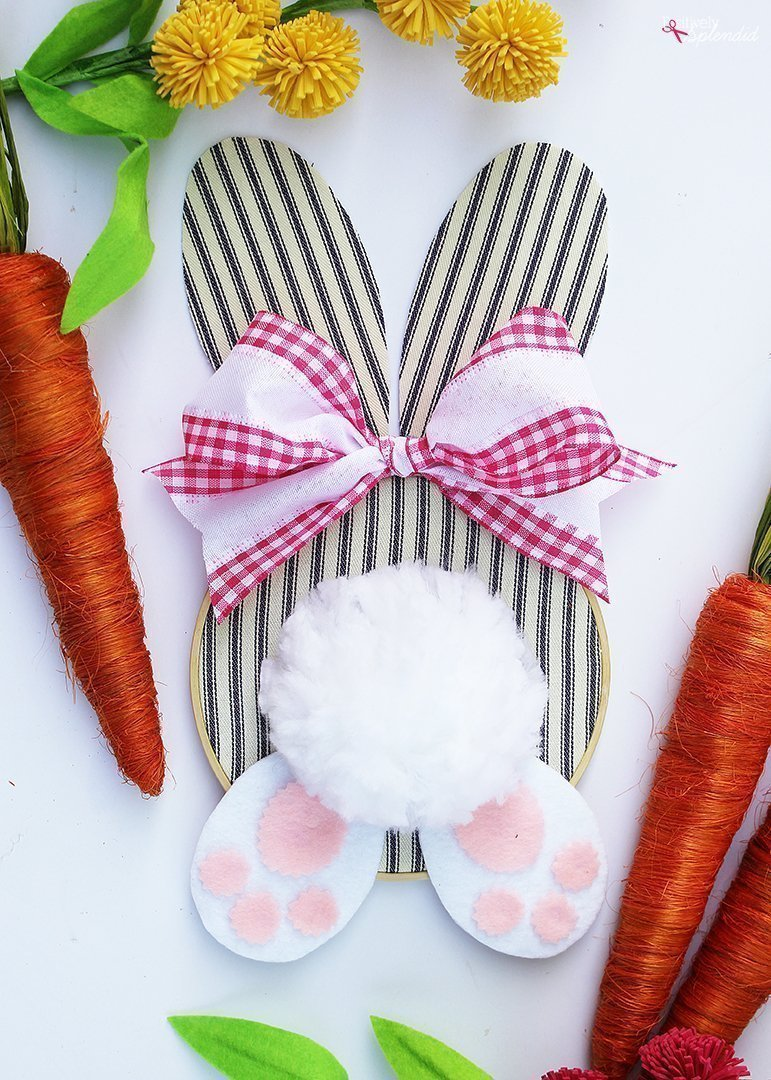 Embroidery Hoop Bunny Easter Wreath by Positively Splendid