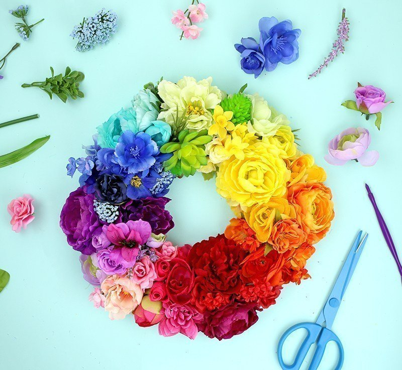Rainbow Floral Wreath by Lines Across