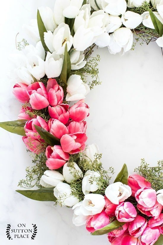 DIY Spring Pink and White Tulip Wreath by On Sutton Place
