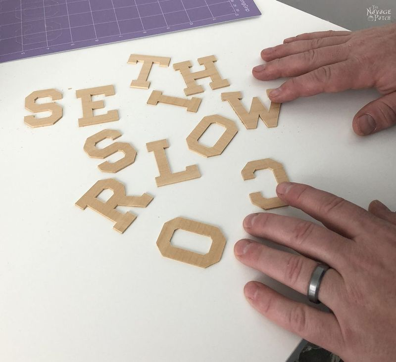 Wooden letters cut by Cricut Maker