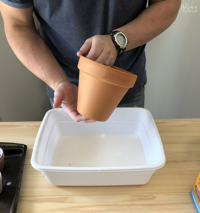 man holding a terra cotta pot