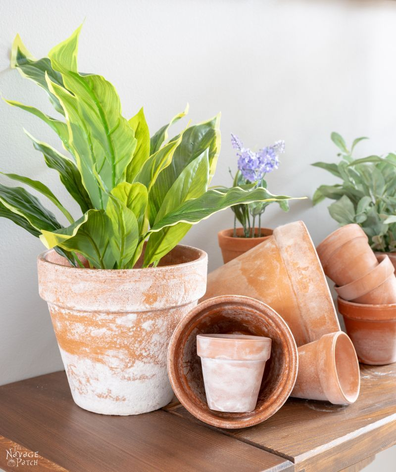 assorted faux aged terra cotta pots