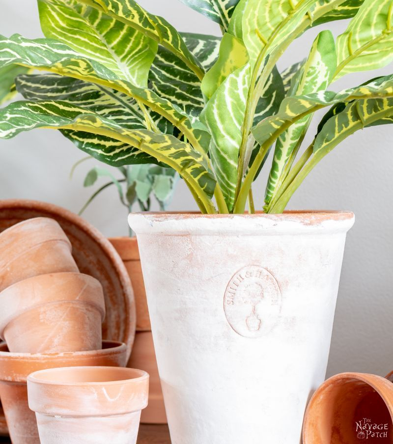 salt faux aged terra cotta pot