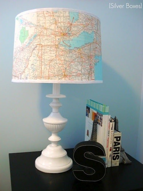 Map decoupaged lamp by Silver Boxes
