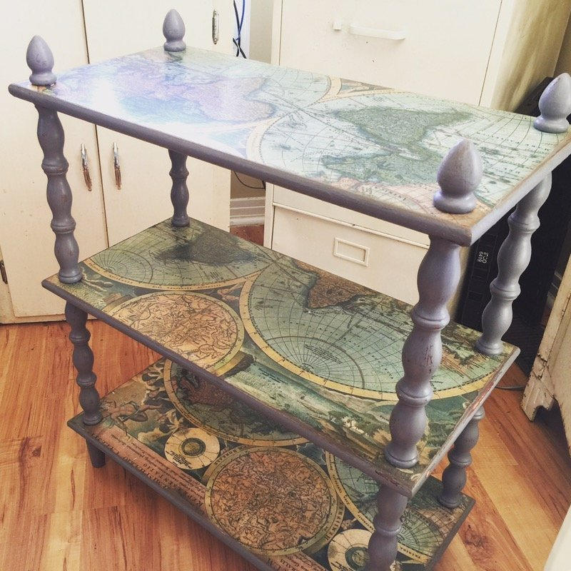 Map Side Table by M & J Rustic Creations