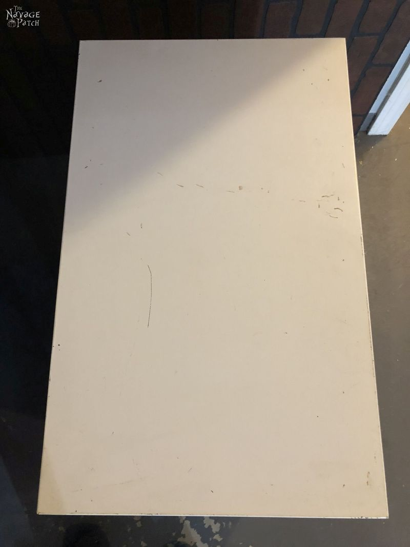 top of a metal filing cabinet
