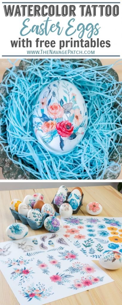 Watercolor Tattoo Easter Eggs pin image