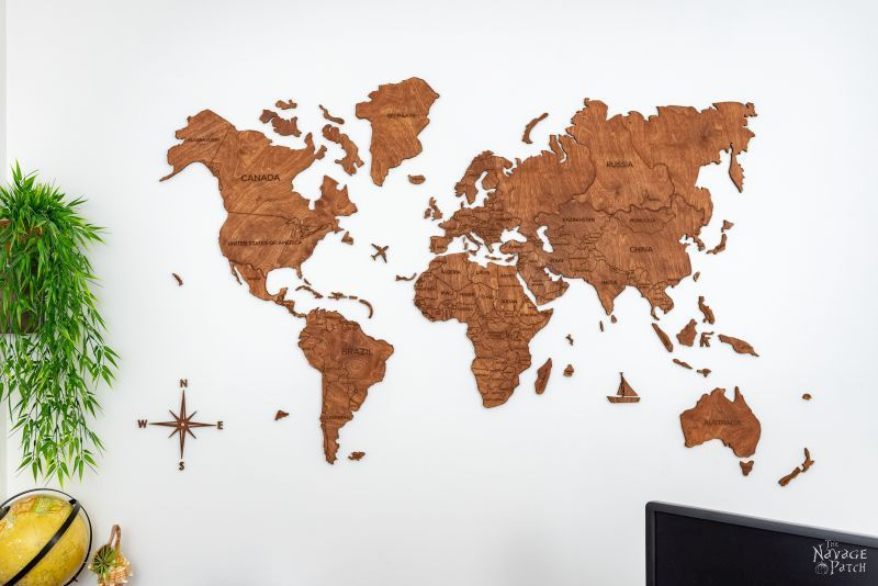 photograph relating to Free Printable World Maps called Wood Map Wall Artwork Free of charge Printable Typical Maps - The