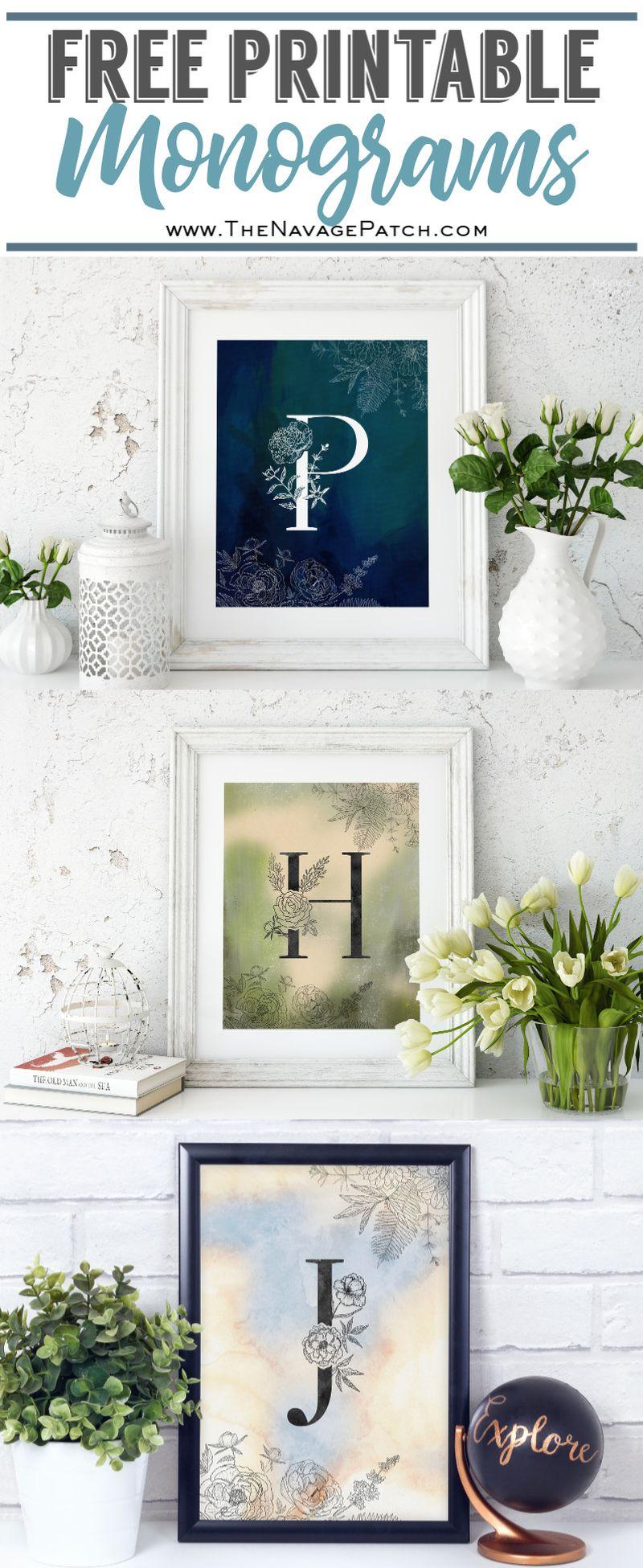 Beautiful Free Printable Floral Monograms   TheNavagePatch.com