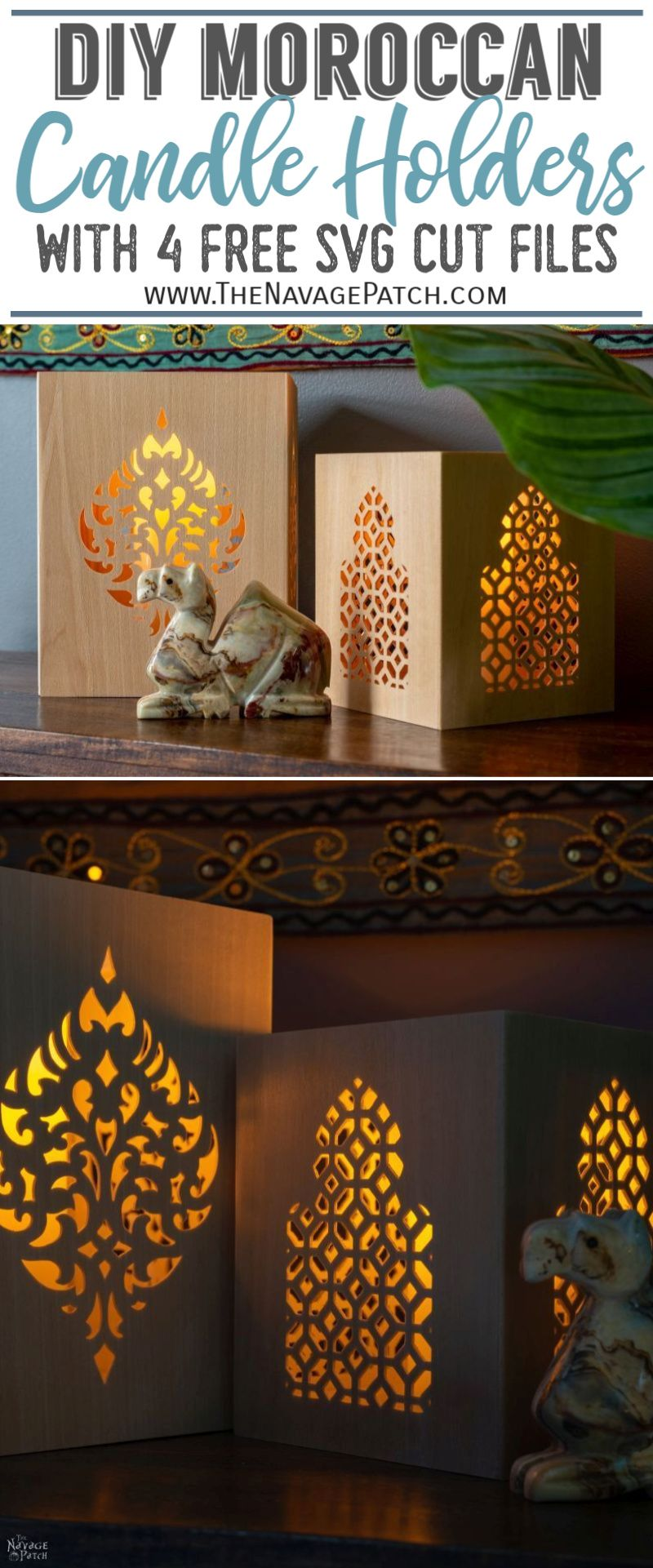 DIY Moroccan Candle Holders pin image | TheNavagePatch.com