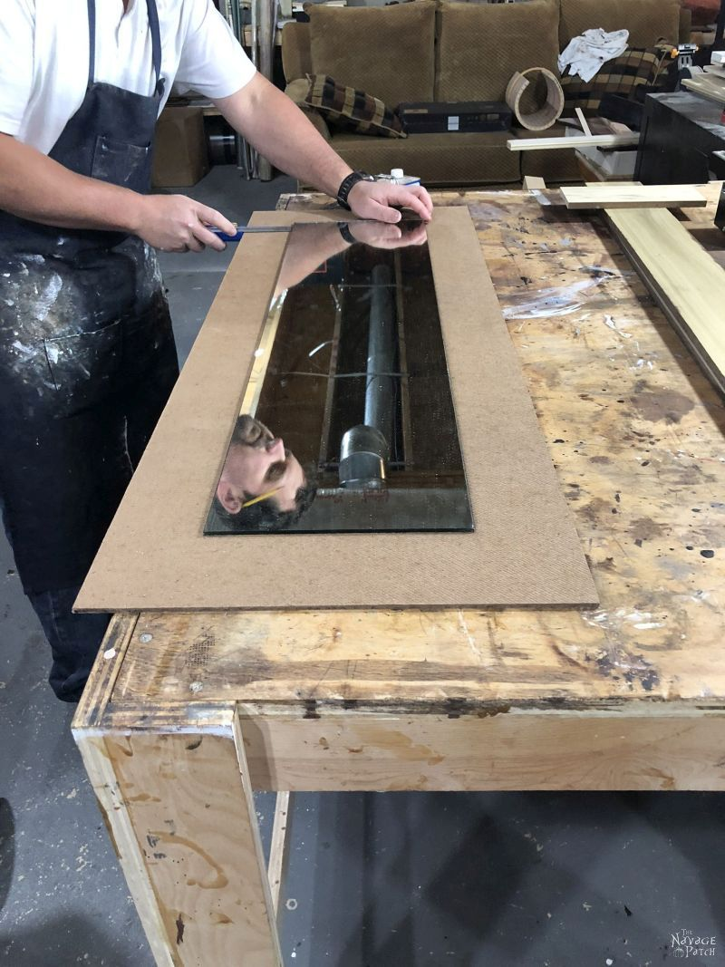 centering a mirror on a piece of hardboard
