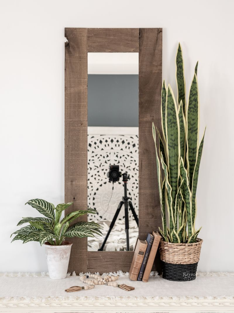 DIY Rustic Mirror Frame | TheNavagePatch.com
