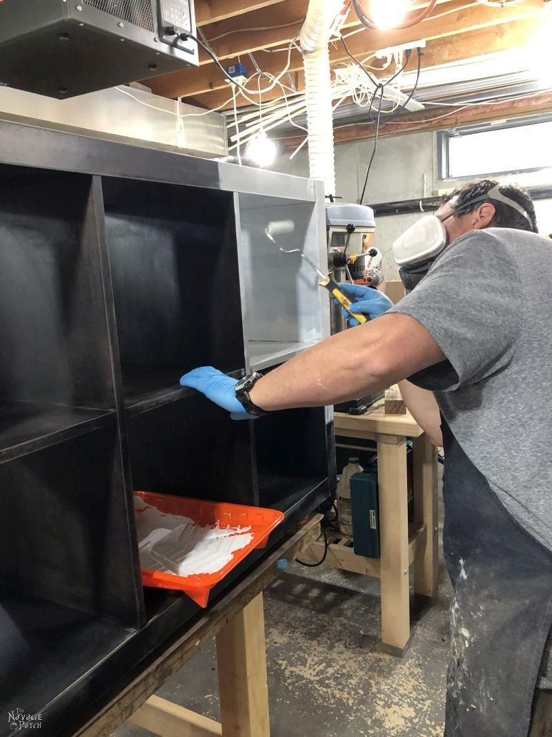 applying primer to an ikea kallax