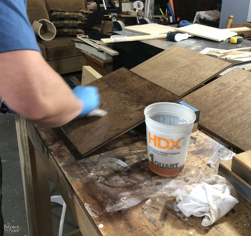wiping varnish on stained plywood