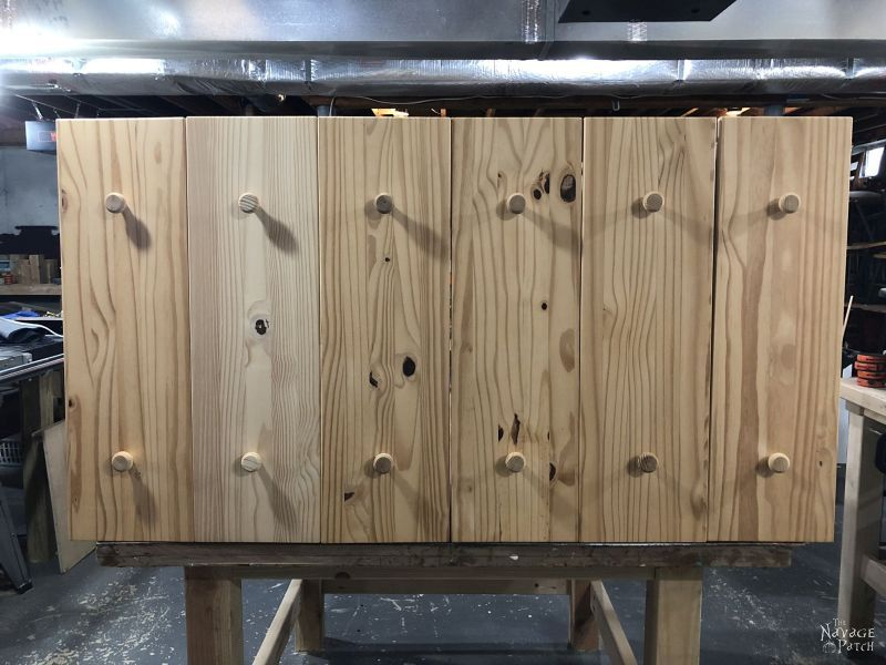 ikea tarva drawers lined up on a work table