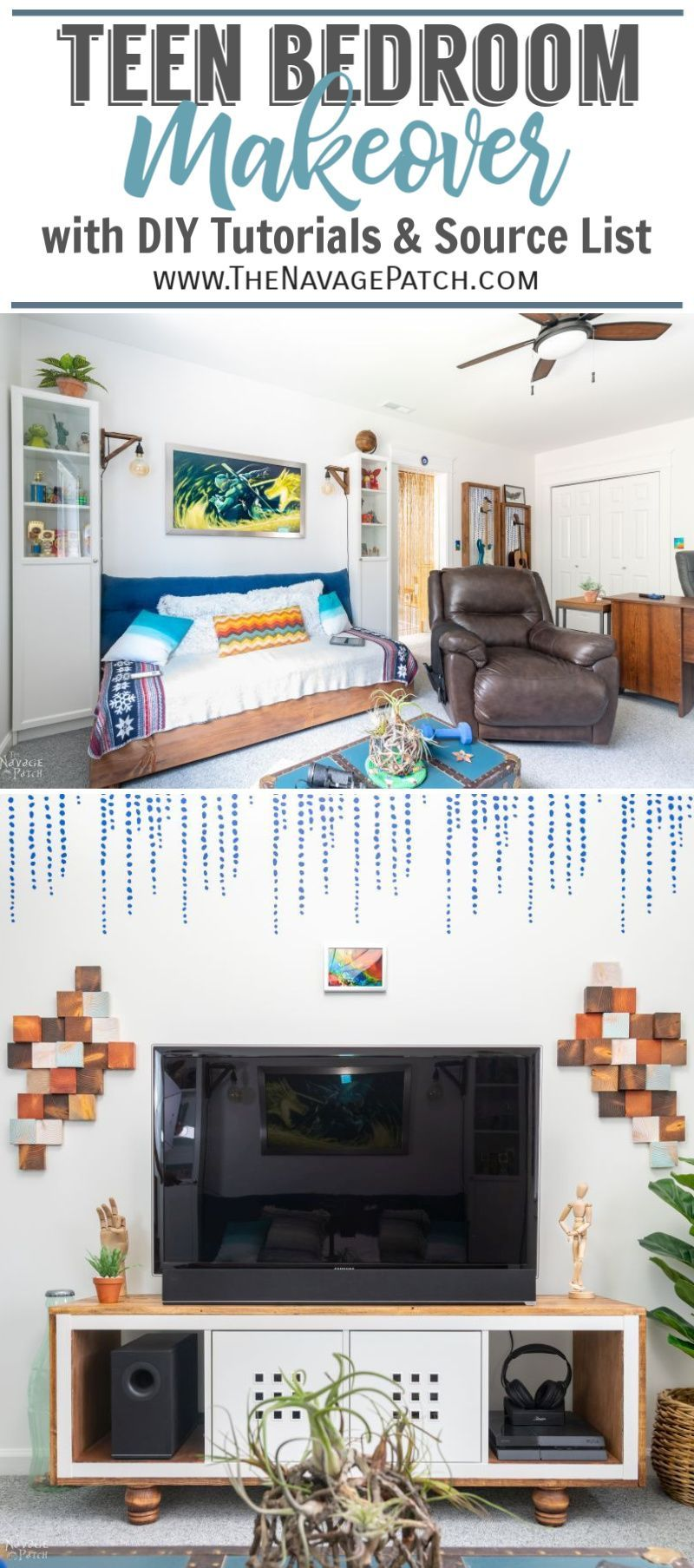 Teen Bedroom Makeover Reveal pin image | TheNavagePatch.com