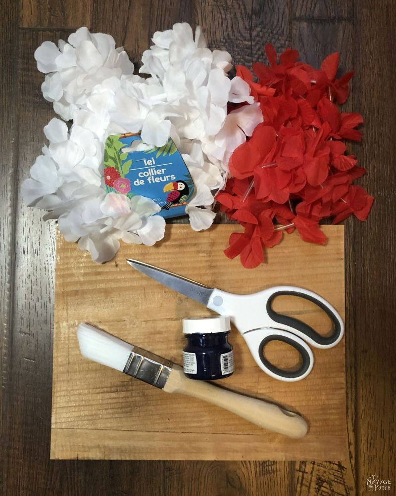 thin pine, paint brush, scissors, paint and red and white leis