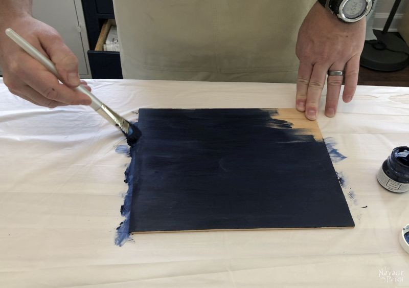 painting a piece of pine blue
