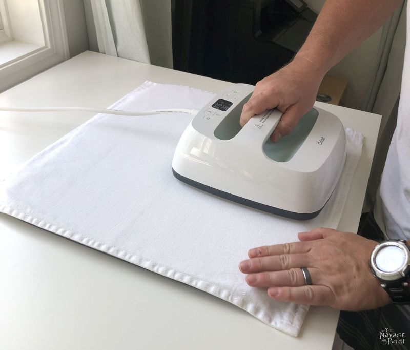 preheat a pillow cover with a cricut easypress 2