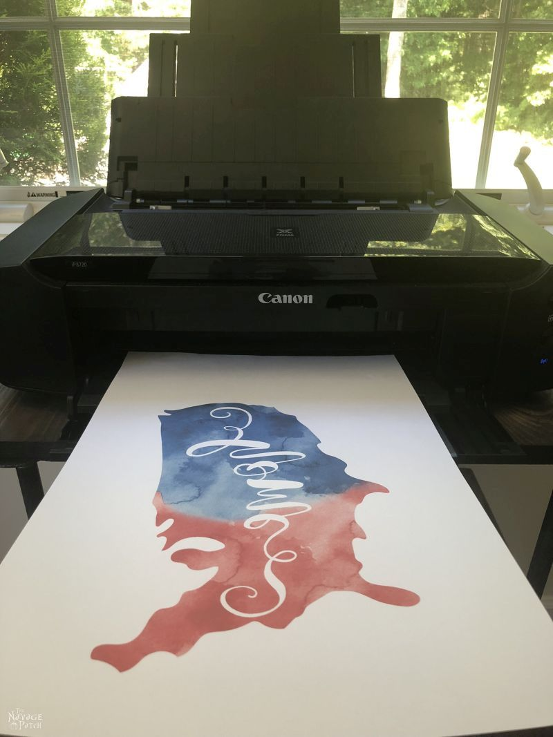 patriotic image printed onto heat transfer paper