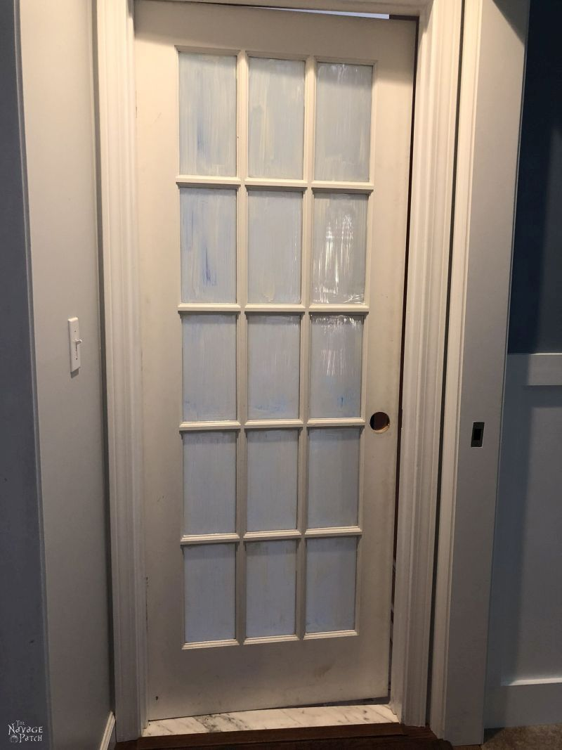 french door awaiting paint