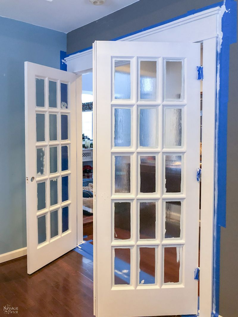 freshly painted French doors