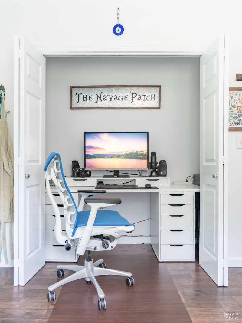 closet office and chair