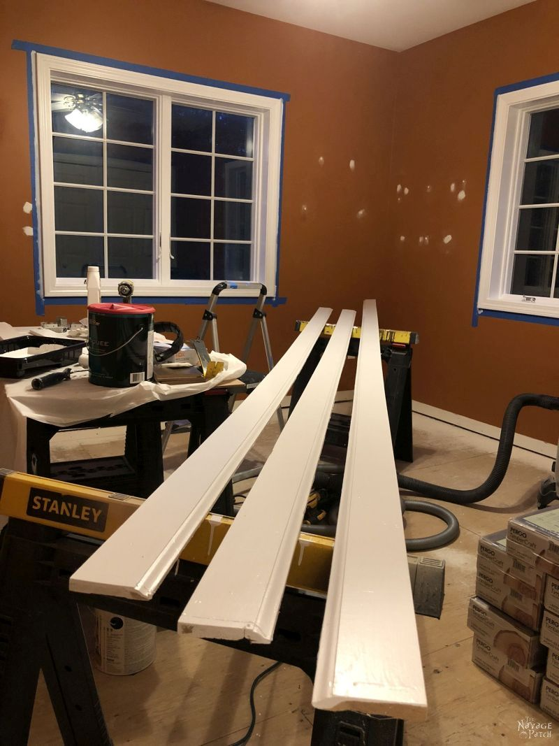 baseboard on sawhorses in a room
