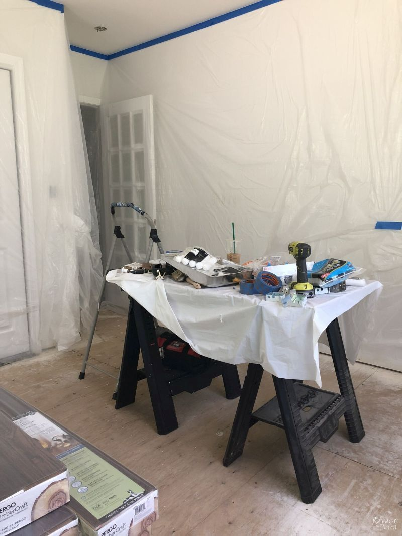 walls covered in plastic sheeting