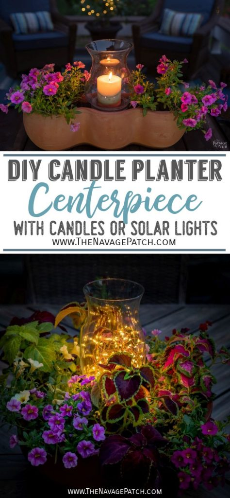DIY candle planter centerpiece - TheNavagePatch.com