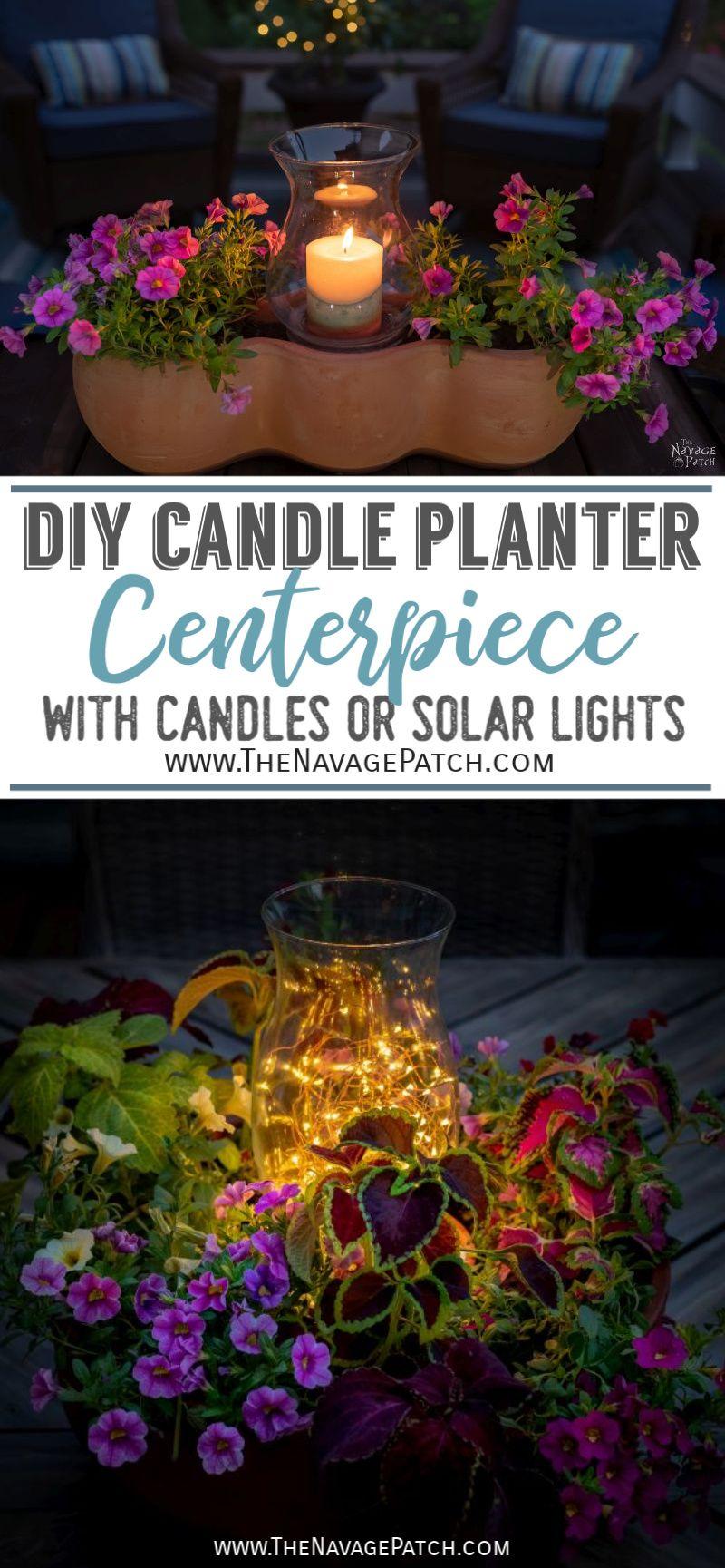 DIY candle planter centerpiece - TheNavagePatch.com