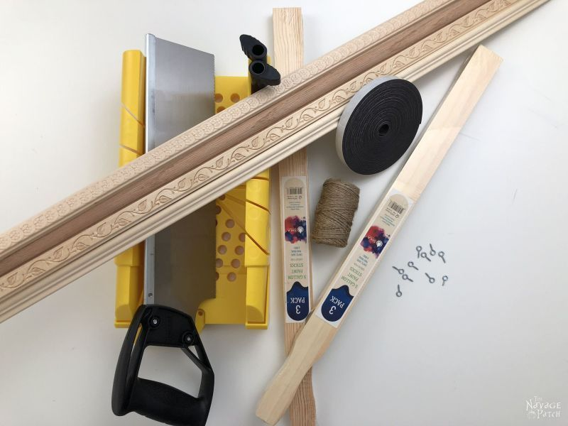 miter box, wood and other supplies for diy magnetic poster hangers
