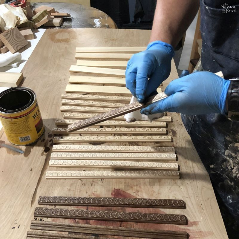 staining wood for diy magnetic poster hangers