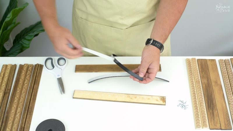 attaching magnetic strips to wood