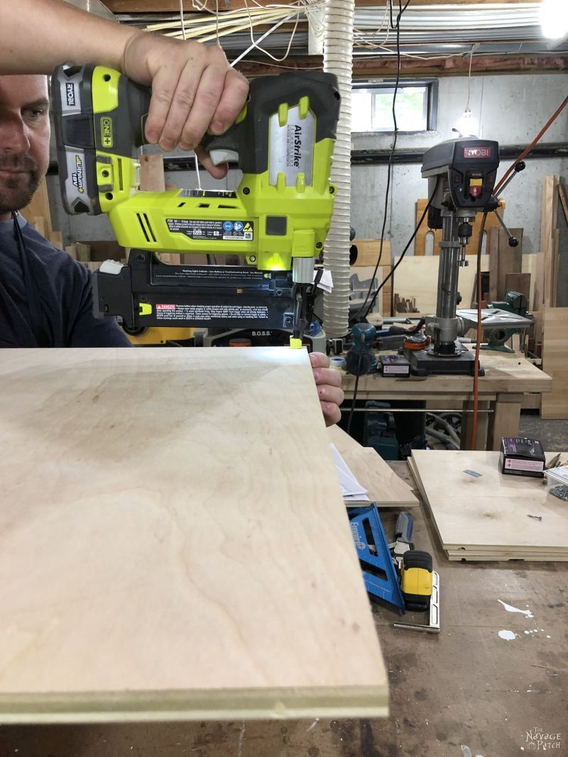using brad nails to build a plywood box for a diy storage tower