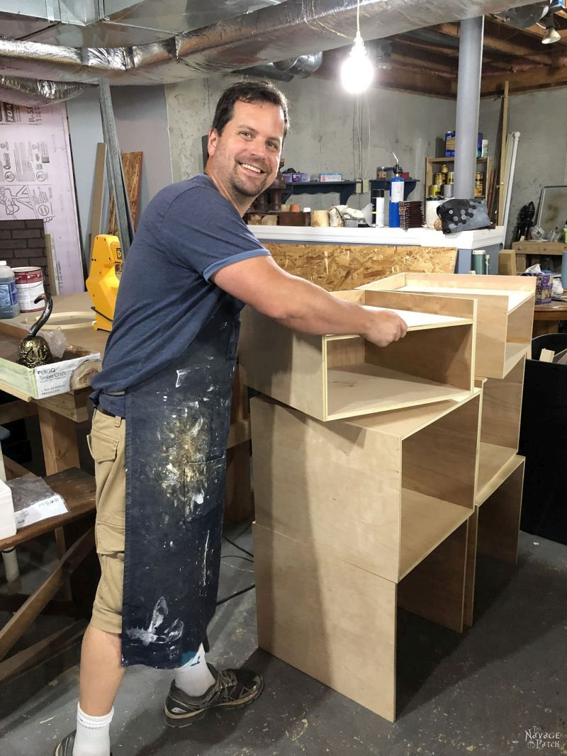 stacking plywood boxes for diy storage tower / industrial bookshelf