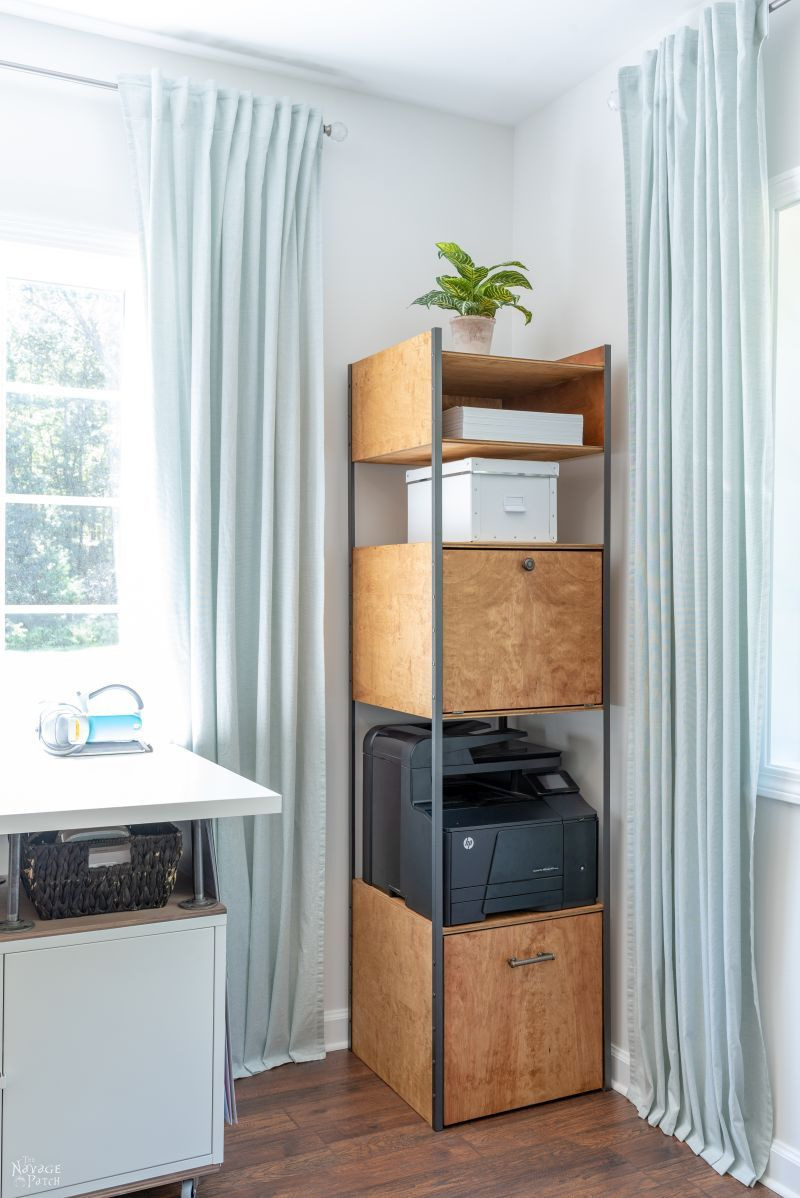 West Elm Inspired DIY Industrial Bookshelf / Storage Tower | TheNavagePatch.com