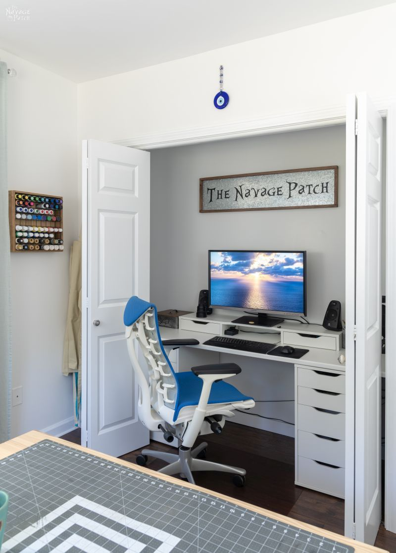 closet office in a craft room