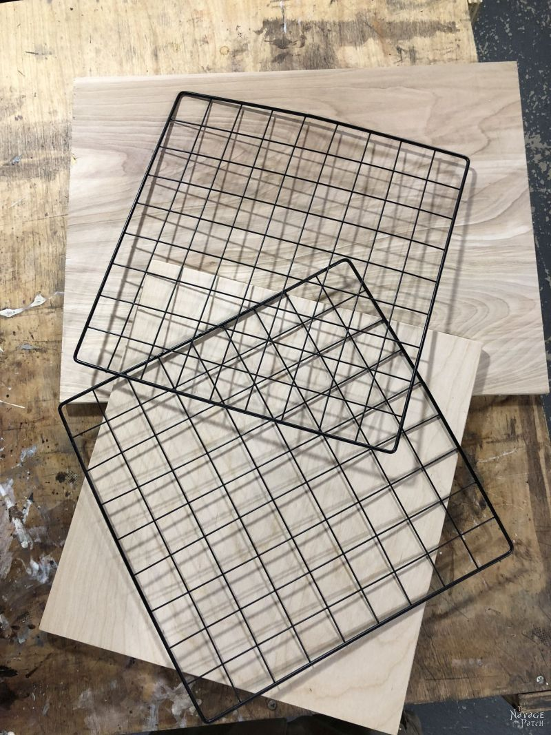 wire racks and plywood
