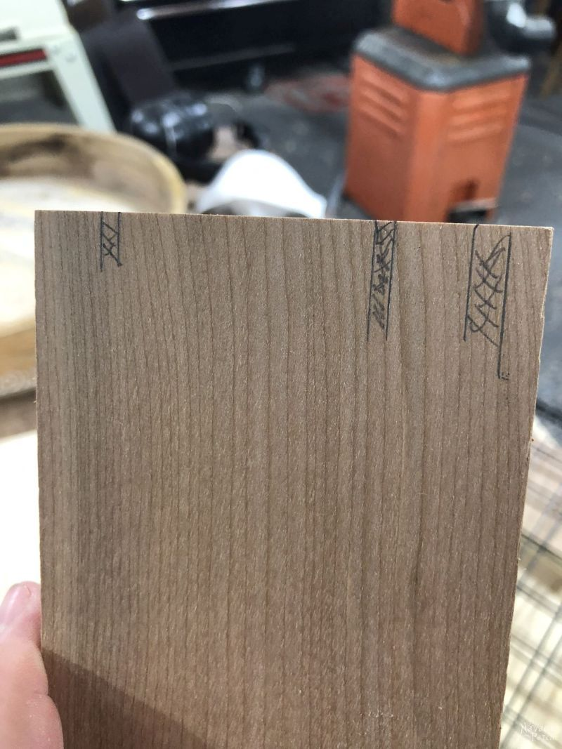 marking wood with a pencil