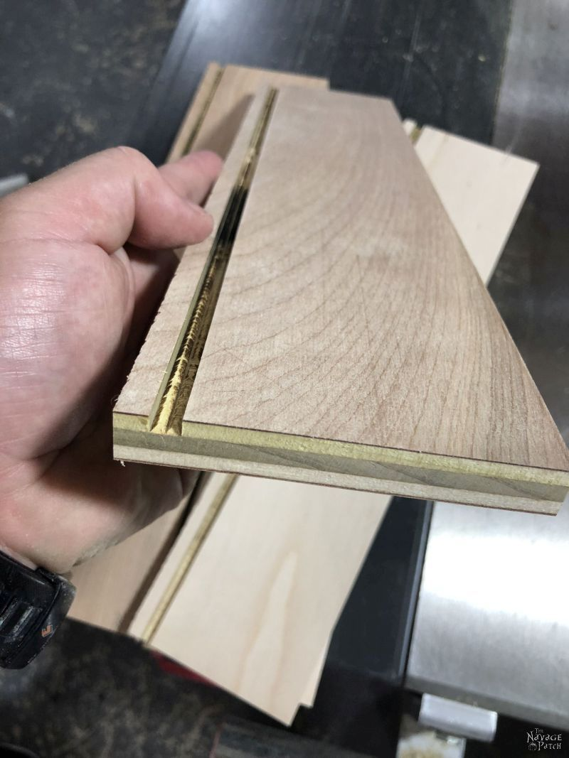 groove cut into plywood