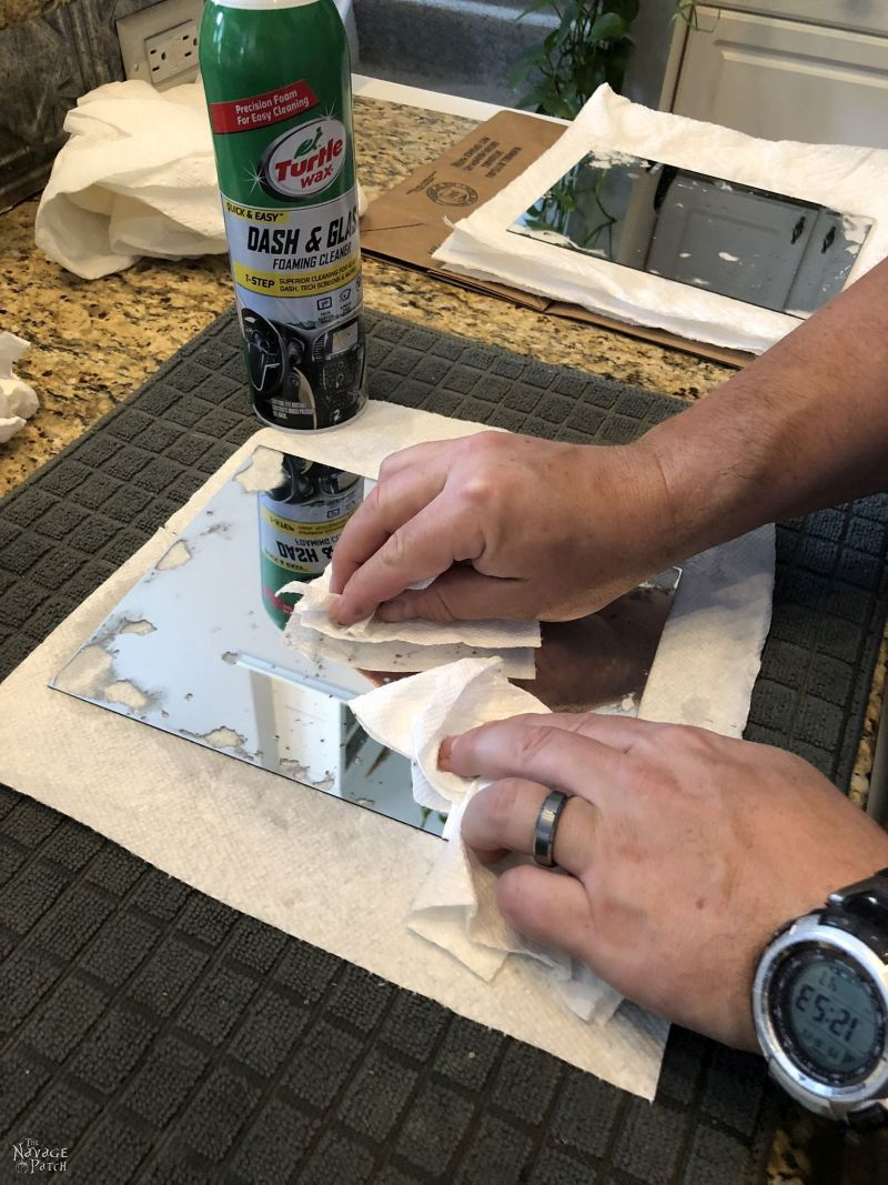 cleaning an antiqued mirror