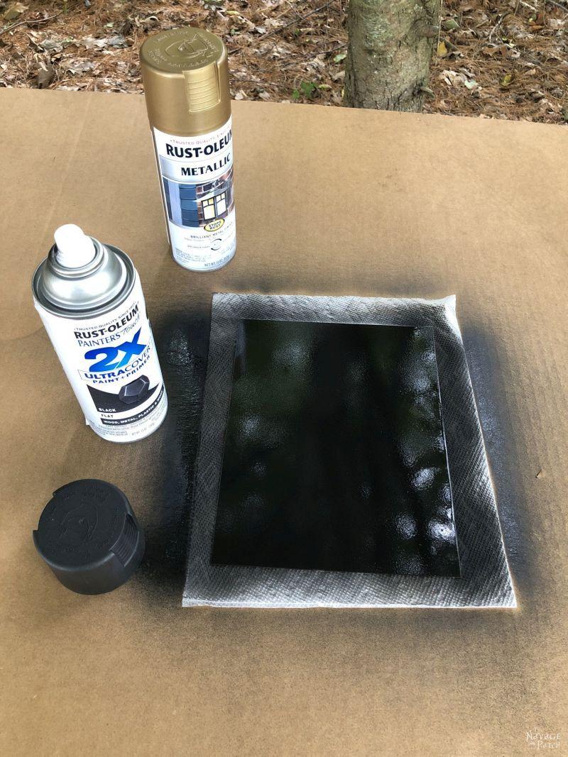 spraying antiqued mirrors