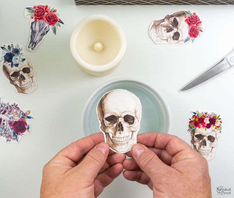 water decal skull for halloween candle