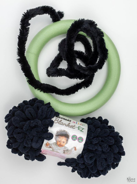 supplies for a diy spider wreath