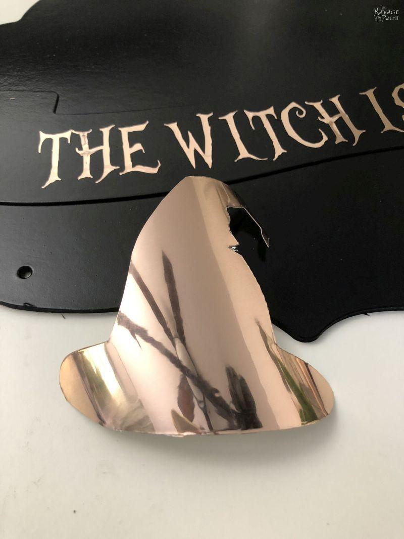 cricut foil cut into a witch hat shape